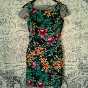 90s Vintage Hawaiian Print R&K Originals Dress